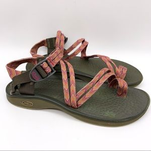 CHACO pink orange double strap sandals, 8.